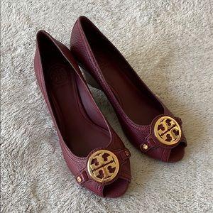 Tory Burch burgundy wedge peep toe shoes